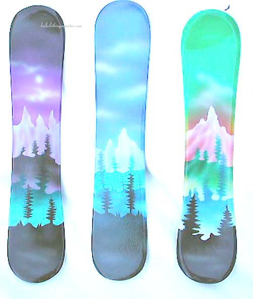 snow boards, skiing, winter gift, sports accessories, painting, air brush decoration