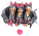 Cat lover decorations, painted carving, animal figurines, handcrafted statues, trendy wood collectibles