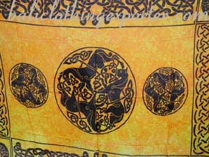 Bali shawl, Celtic art sarong, resort clothing, ladies wrap dress, Celtic symbol fashions