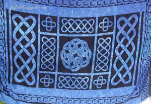 Beach wrap, summer sarong, celtic knot fashions, celtic symbol apparel, resort wear, batik shawl