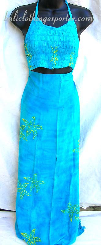 Trendy casual wear, island apparel, aloha fashion set, womens dress sets, bali sarong and shirt, designer batik apparel