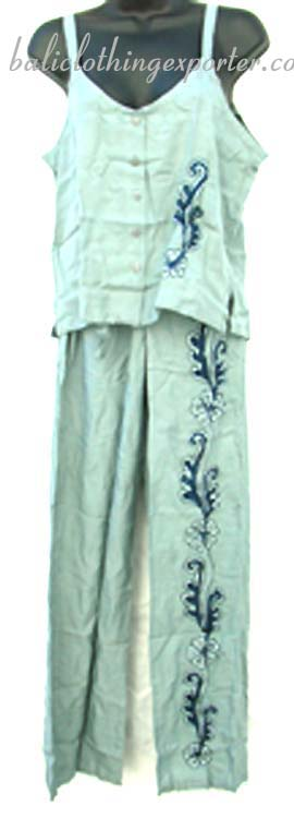 Button up tank top, ladies bali style fashions, resort apparel, summer pant set, embroidered clothing