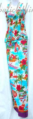 Hawaiian travel apparel, pencil style skirt set, leisure summer clothing, womens fashion sets, batik sarong, designer fashion wear