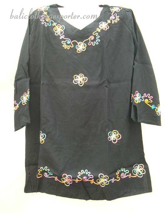 Trendy batik clothing, girls embroidered shirt tops, Caribbean wear, summer shirts, youth size thread art apparel