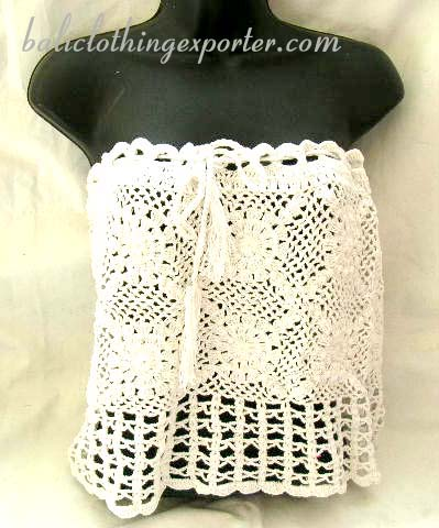 thread art clothing, crochet tops, strapless shirt, summer clothing, ladies knitted fashions, club wear